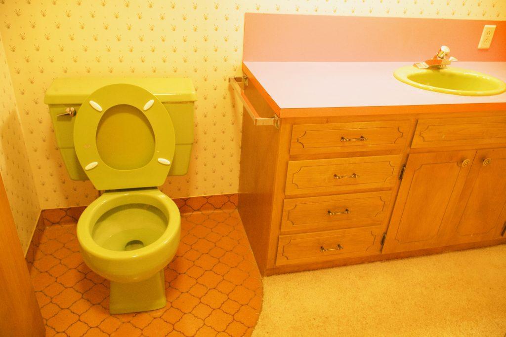 Our 1971 Fixer Upper Avacado Green Bathroom.