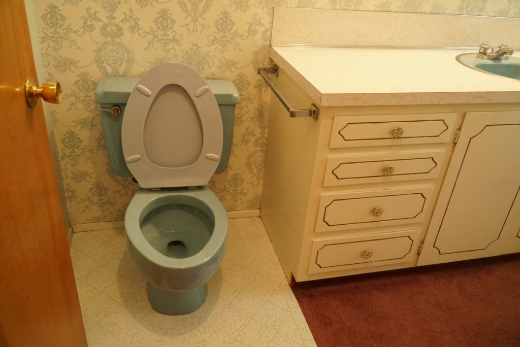 Remodeling our blue bathroom at our 1971 fixer upper house.