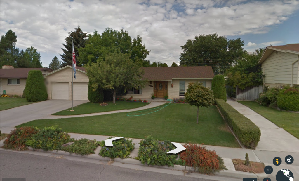 Here's the before photo (thank you Google Earth) of what our curb appeal looked like when we moved in.