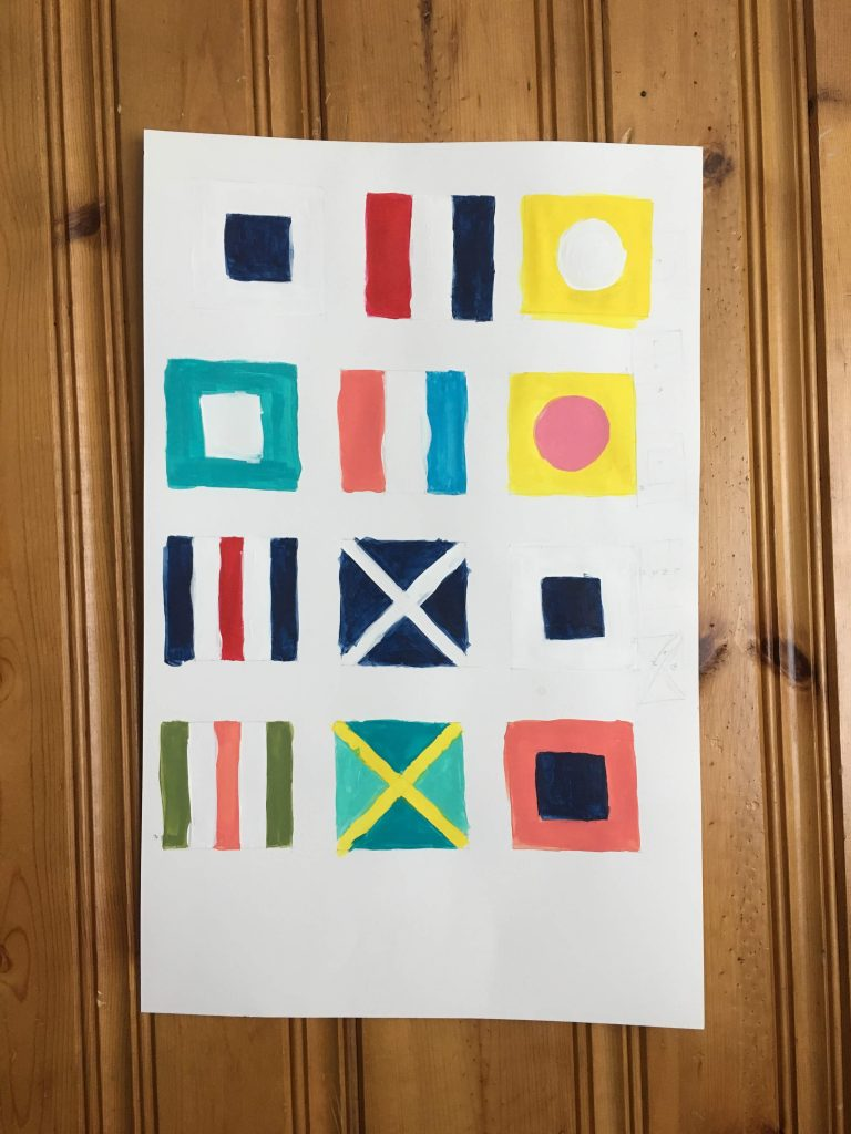 Nautical Flag Wall Art Project - Here is the sample mock up I made. I was mixing and matching colors and nautical flag designs to see which one...