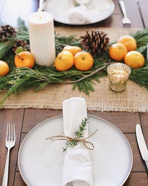 The Clementine, Pine and Rosemary Sprigs Thanksgiving Tablescape