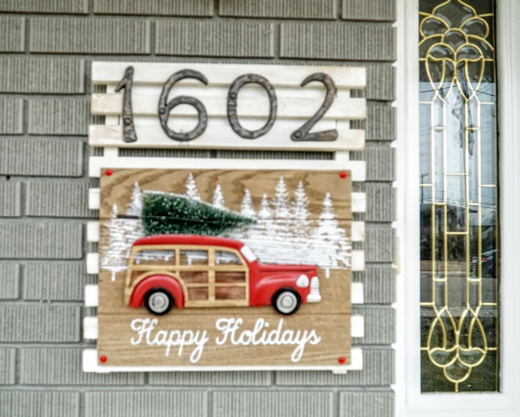Christmas Tree Classic Car Address Plaque
