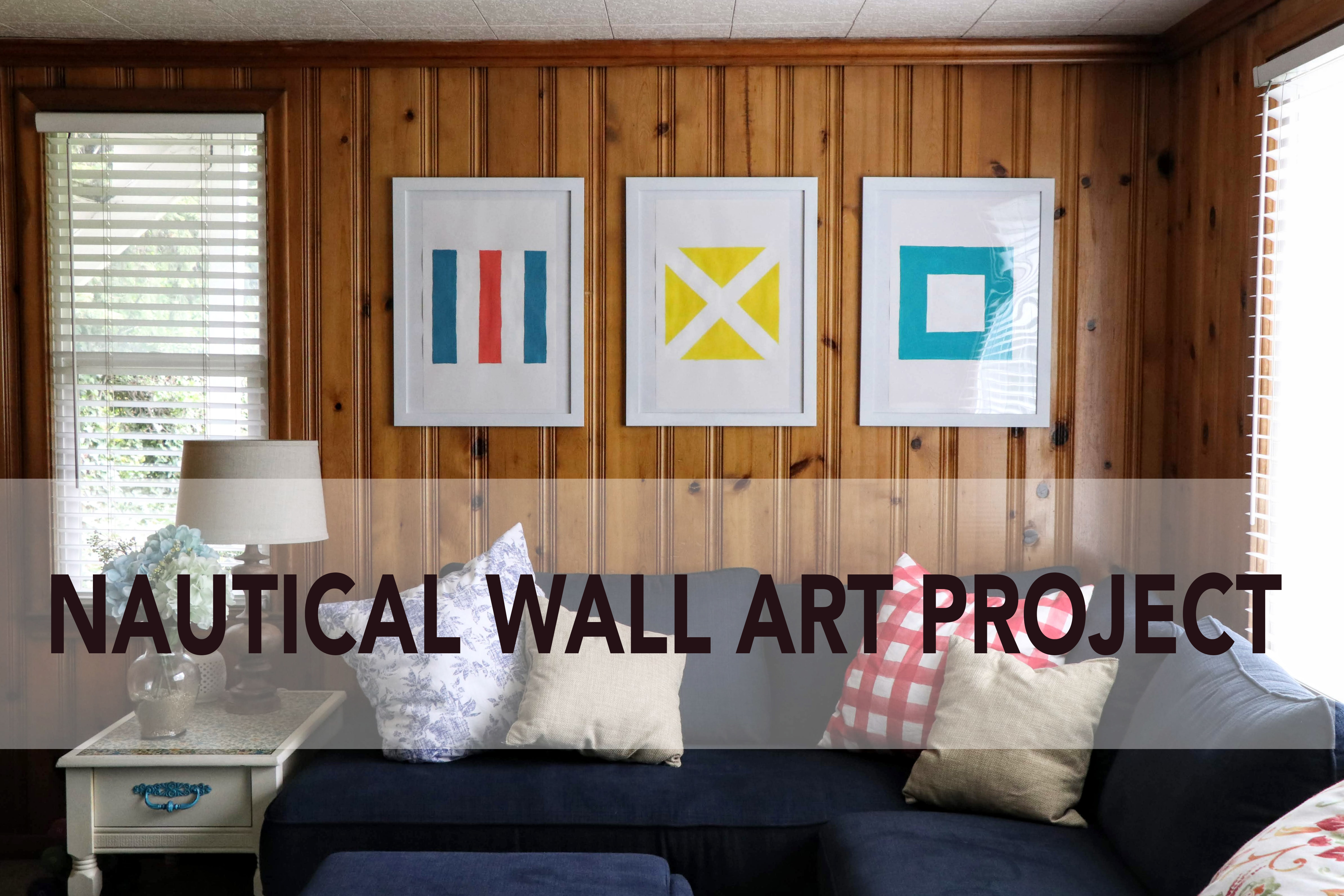 Nautical Flag Wall Art Project. Only takes 2 hours and basic art skills. Complete tutorial on the blog.